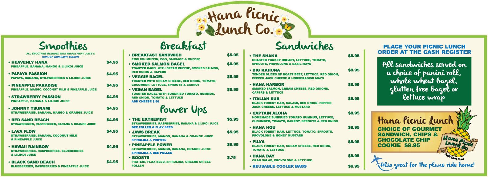 Hana Headquarters Food To Go MENU